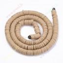 Polimeriniai karoliukai , smėlinė rusva sp., 6x1 mm., 1 juosta ( apie  390 vn.)