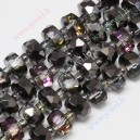 Kristalų juosta 8x5 mm., juoda pusiau dengta sp., 1 vnt.