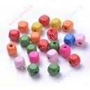 Mediniai karoliukai , spalvų mix. 8x8x8 mm., apie 95 vnt.