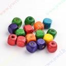 Mediniai karoliukai , spalvų mix. 10x10x10 mm., apie 40 vnt.