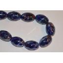 Keramikos karoliukai,briaunuota pailga forma , mėlyna marga  sp., 28x18 mm., 1 vnt.