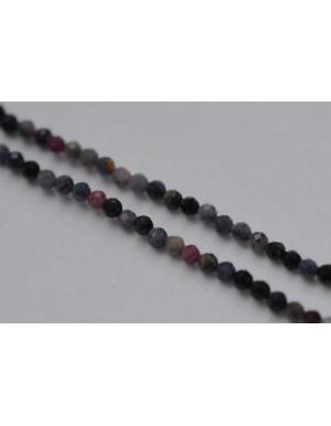 Safyras + rubinas mix , briaunuotas ,  2 mm, 1 juosta ( apie 39 cm.)
