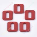 Plastikinis - akrilinis karoliukas , 32x32x7 mm. , raudona sp. , 1 vnt.
