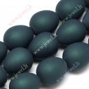 Plastikinis - akrilinis karoliukas , 14x11 mm. , tamsiai žalia sp. , 1 vnt.