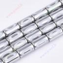Stikliniai karoliukai , Cilindro for., sidabro sp., 20x10 mm., 1 juosta ( 17 vnt.)