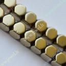 Hematitas , žalsva aukso sp., kubo  forma , 6x6x6 mm., 1 juosta ( apie 64 vnt.)
