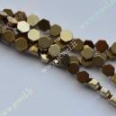 Hematitas , žalsva aukso sp., 4x4x2 mm., 1 juosta ( apie 95 vnt.)