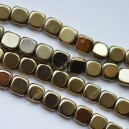 Hematitas , žalsva aukso sp. , 6x6x2 mm., 1 juosta ( apie 64 vnt.)