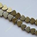 Hematitas , žalsva aukso sp., 6x6x2 mm., 1 juosta ( apie 64 vnt.)