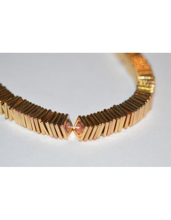 Hematitas, šviesi aukso sp., 6x6x1 mm., 1 juosta ( apie 380 vnt.)