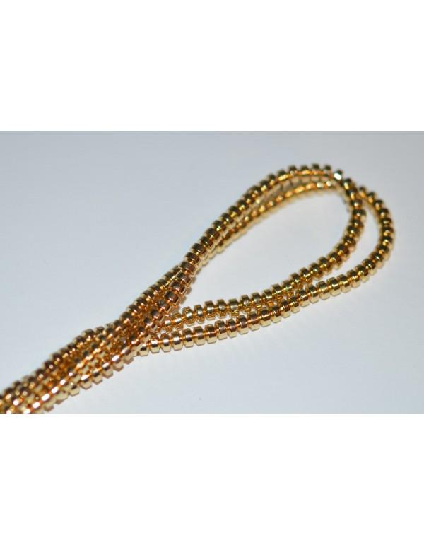 Hematito karoliukai, šviesi aukso sp. , 3,5x2,5 mm , 1 juosta ( apie 150 vnt.)