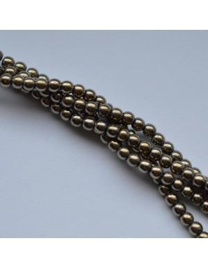 Hematitas , žalsva aukso sp. , 3 mm., 1 juosta ( apie 135 vnt.)