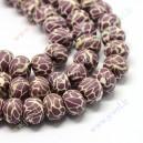 Polimeriniai karoliukai ruda -rožinė,  apie 9x6.5 mm, 1 juosta