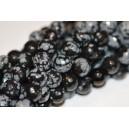 Snaiginis obsidianas ,briaunuotas, 8 mm, 1 juosta