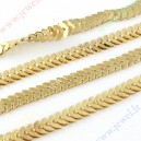 Grandinėlė , aukso sp., 5x8,5x2 mm., 1 m.