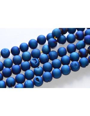 """Agatas """"Druzy"""" 16 mm , mėlyna spalva, 1 juosta"""