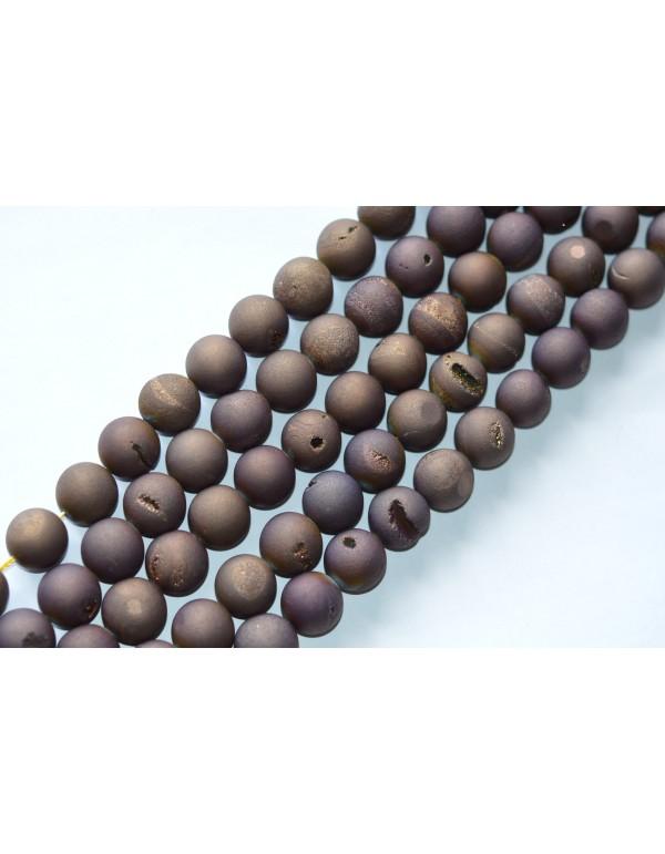 """Agatas """"Druzy""""  18 mm. rudai violetinė spalva ,1 juosta"""