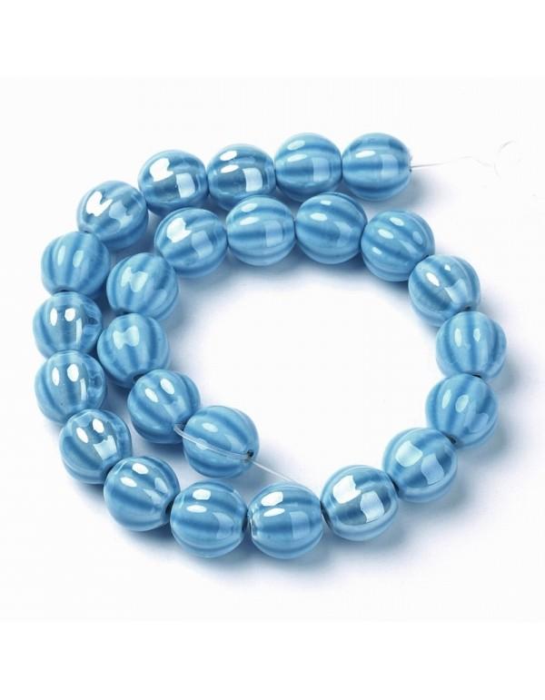 Keramikos karoliukas 13 mm., mėlynas , 1 juosta