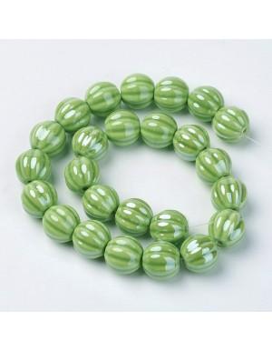 Keramikos karoliukas 13 mm., žalias ( Lime green) , 1 juosta