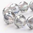 Stikliniai karoliukai ,briaunuoti, pilki skaidrūs, 20mm, 1 vnt.