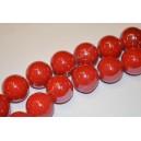 Keramikos karoliukai 10 mm., raudona spalva , 1 juosta
