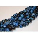 Agatas , margas ( mėlyna -juoda ), briaunuotas ,8 mm.,1   juosta