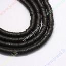Polimeriniai karoliukai , juoda sp., 6x1 mm., 1 juosta