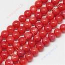 Kriaukliniai ( gėlavandeniai ) karoliukai , dažyti, raudona sp., 7-8 mm., 1 juosta