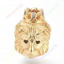"""Intarpas , žalvarinis , aukso sp. su cirkonio akutėm, """" Liūtas"""", 13x10x11. skylė 5 mm., 1 vnt."""