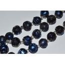 Kvarco kristalai, dažyti apie 12 mm,  mėlyna spalva. 1 juosta ( 14 vnt.)