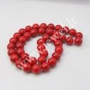 Sintetinio turkio karoliukai 8 mm., raudona sp. , 1 juosta ( apie 50 vnt.)