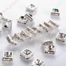 Intarpai sidabro sp.su skaidriomis akutėmis , 5x5x2,5 mm, 1 vnt.