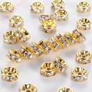 Intarpai aukso  sp.su skaidriomis akutėmis , 8x3,8 mm, 1 vnt.