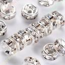 Intarpai sidabro  sp.su skaidriomis akutėmis , 4x2 mm, 1 vnt.