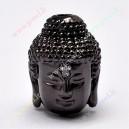 "Intarpas žalvarinis , juodos spalvos ""Buda"" , 14x10x11 mm., 1 vnt."