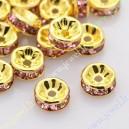 Intarpas aukso sp., su šv. rožinėm akutėm 4x2 mm., 1 vnt.
