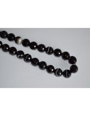 Agatas dryžuotas ,briaunuotas, juodas , 16 mm 1 juosta ( 25 vnt.)