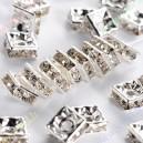 Intarpai sidabro sp.su skaidriomis akutėmis , 6x6x2,5 mm, 1 vnt.
