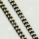 Žalvarinė grandinėlė, juoda su aukso sp., 2x1 mm., 1 m.,