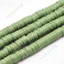Polimeriniai karoliukai , žalia-alyvuogių sp., 6x1 mm., 1 juosta ( apie  390 vn.)