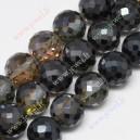 Stikliniai karoliukai ,briaunuoti, pusiau juodai dengti, 12 mm, 1 vnt.