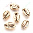 Kriaukliniai karoliukai apie 12x10x6 mm., dažyti , šv. aukso sp., 1 vnt.