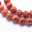 Sintetinio turkio su kriaukle 10 mm. karoliukai, koralo sp.,  1 juosta ( apie 39 vnt.)